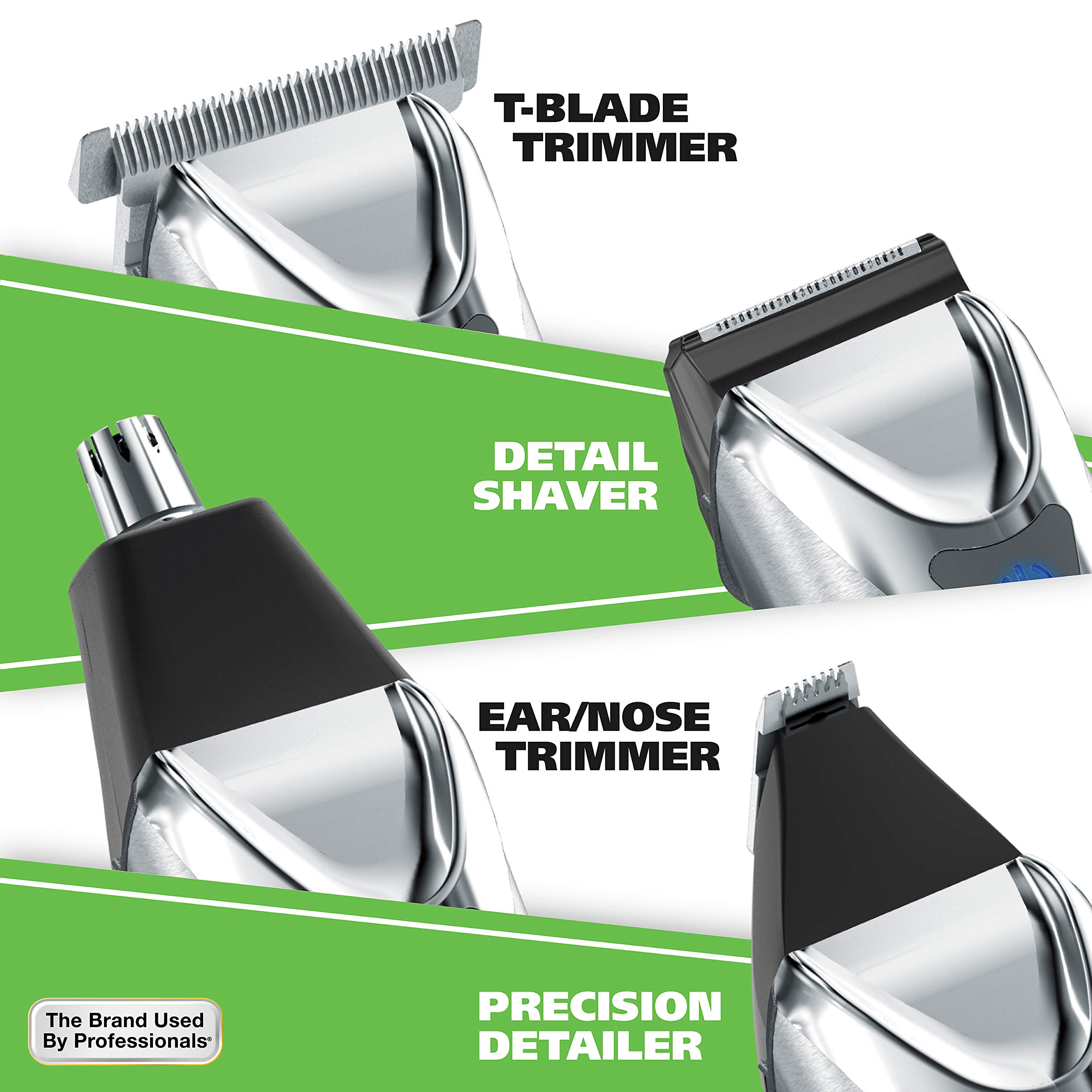 Wahl Clipper Stainless Steel Lithium Ion Plus Beard Trimmers for Men, Hair Clippers and Shavers, Nose Ear Trimmers, Rechargeable All in One Men's Grooming Kit, by the Brand used by Professionals #9818 by WAHL (Image #4)