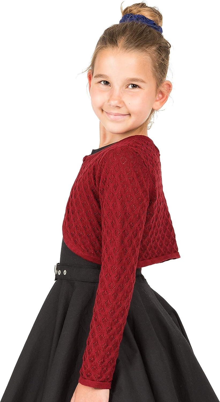 BlackButterfly Kids Long Sleeve Pointelle Knit Childrens Girls Bolero Shrug