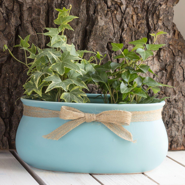 crema ciotola 18/cm con fiocco Oblong Sweet Home Decor in ceramica