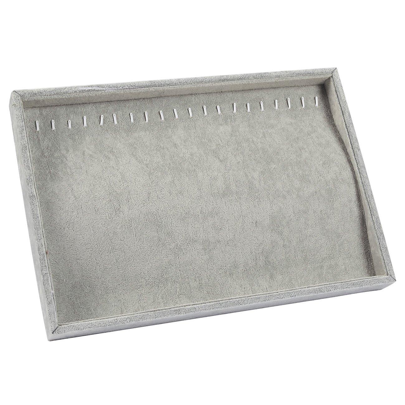 Organizador de joyas–Bandeja apilable pantalla caso, joyería cajón soporte de almacenamiento con ganchos de metal para pendientes, collares, cadenas de decoración, color gris–14x 9,5x 1.2pulgadas color gris-14x 9 Juvale