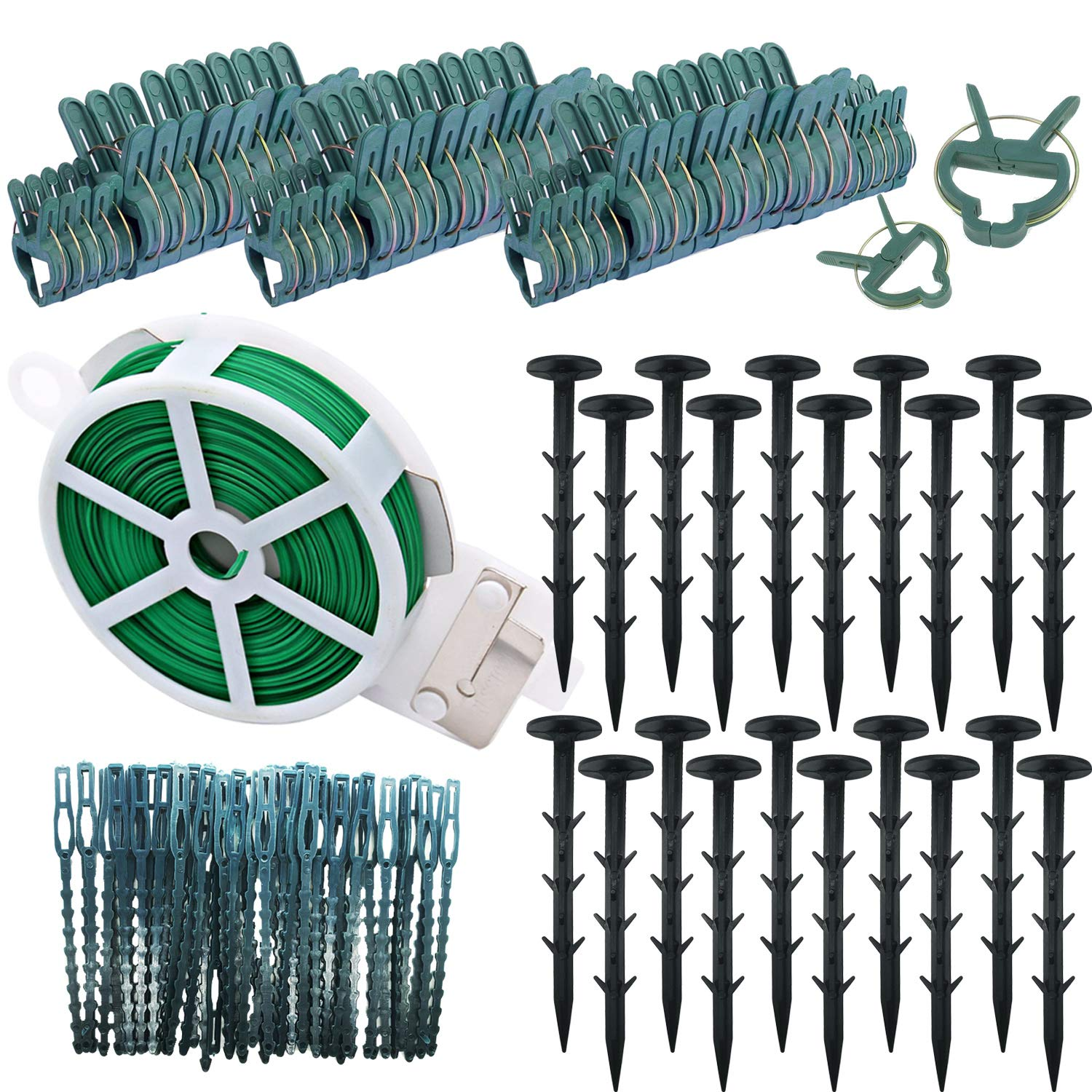 Seasonsky Floral Arrangement Kit 82 PCS Plant Supports Plant Growing Supports Set Included Plant Clips, Plant Cable Ties, Garden Plant Twist Tie and Plastic Tacks for DIY Garden Climbing Plant