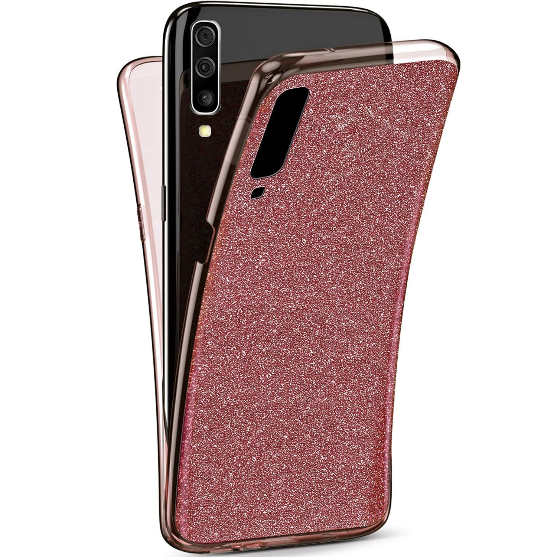 YSIMEE Compatibile con Cover Samsung Galaxy A70 Custodia,360 Gradi Integrale Brillantini Glitter Completa Gel Trasparente Puro TPU Silicone Protettivo Morbida Ultra Sottile Antiurto Case,Argento