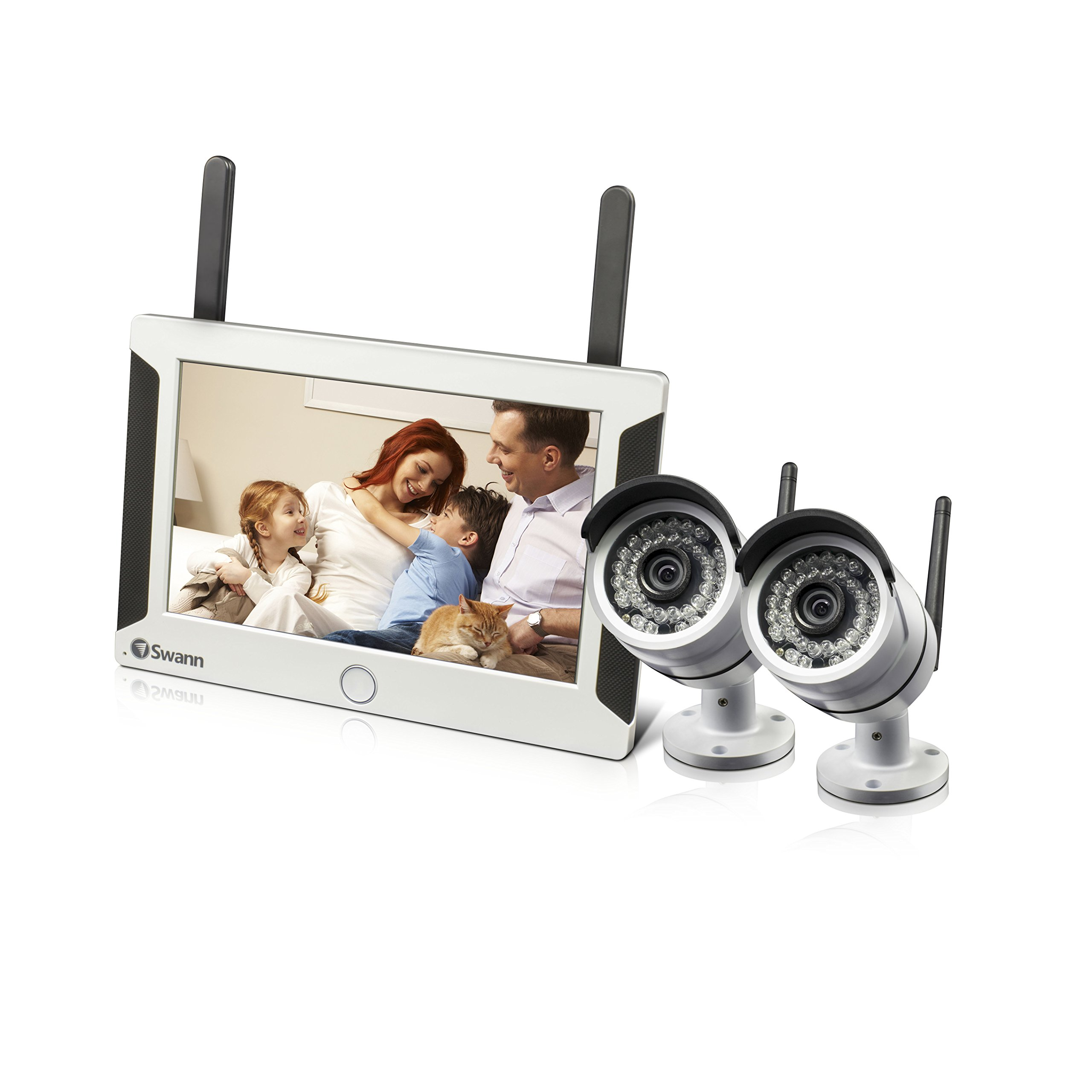 Swann  All-in-One Wi-Fi HD Monitoring System with 7'' Touch Screen Monitor, Motion Trigger & 2 x 720P Cameras, White - SWNVW-470PK2-US