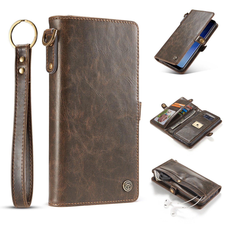60b5c321871 JIALUN-Caja del teléfono o Cubierta CaseMe para Samsung Galaxy S8 Cartera  de Cuero con Cubierta Trasera Desmontable con Correa para la muñeca Protege  tu ...