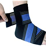 Runflory Ankle Support Brace with Straps, Compression Ankle Foot Sleeve with Adjustable Ankle Strap Wrap Bandage - Ankle Support for Athletics, Injury Recovery, Joint Pain