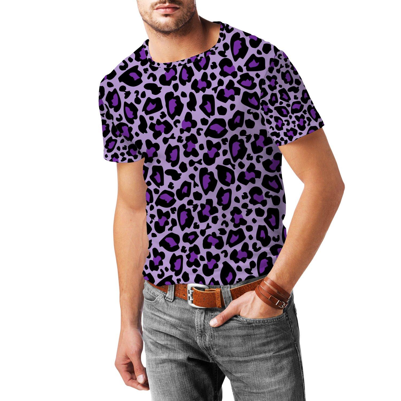 Leopard Print Bright Purple Mens Sport Mesh T-Shirt
