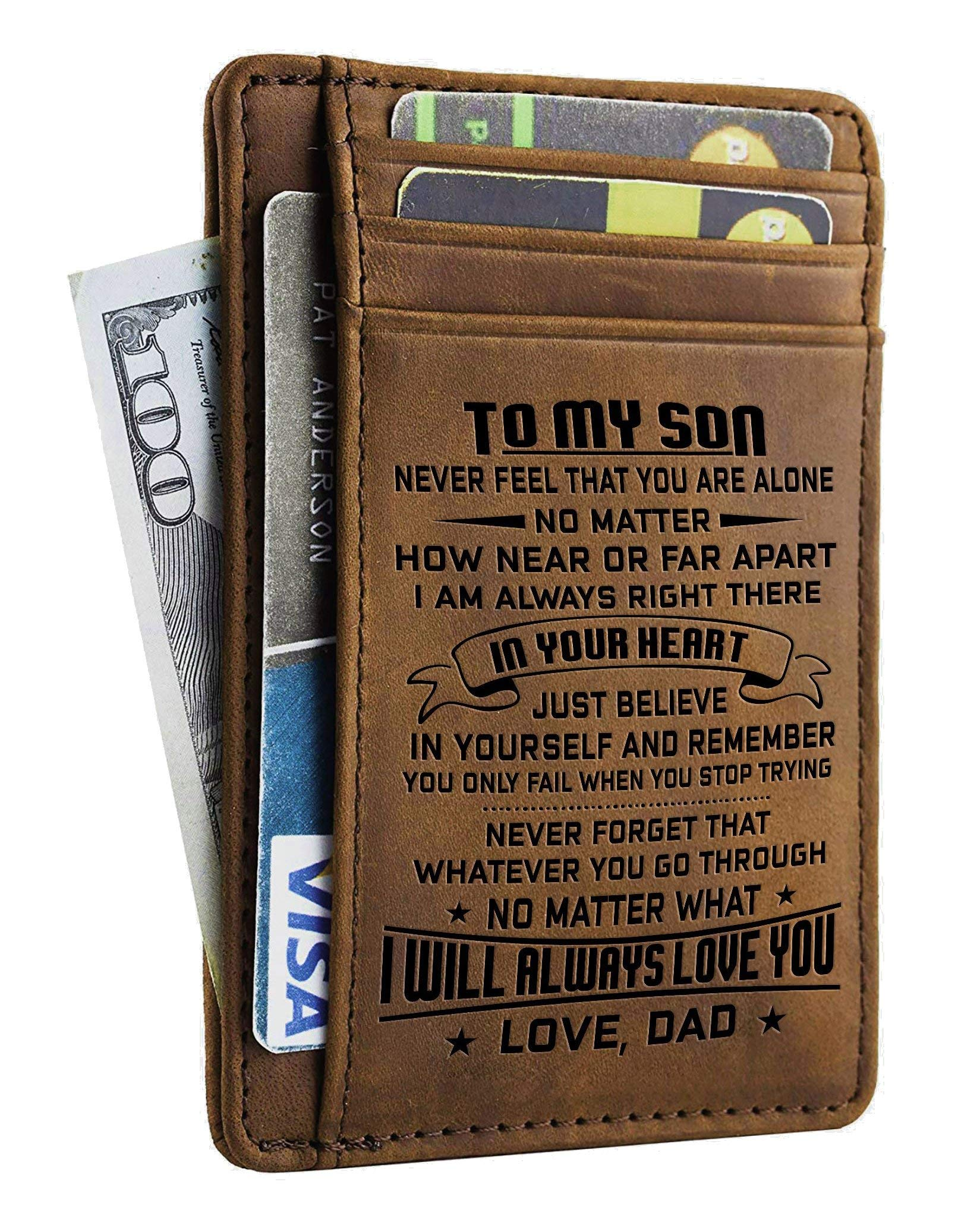Engraved Leather Front Pocket Wallet (A - Son, dad will always love you)
