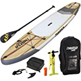 "THURSO SURF Inflatable SUP Stand Up Paddleboard 11' x 32"" x 6"", Includes 3 Piece Adjustable Carbon Shaft Paddle/Fin/Leash/Deck Bag/Air Pump/Travel Backpack"