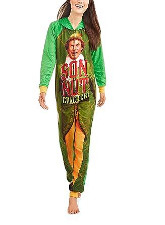 8dd6156c9e Elf Buddy Women s Son Of a Nutcracker Pajama Union Suit One Piece Sleepwear  (XS (