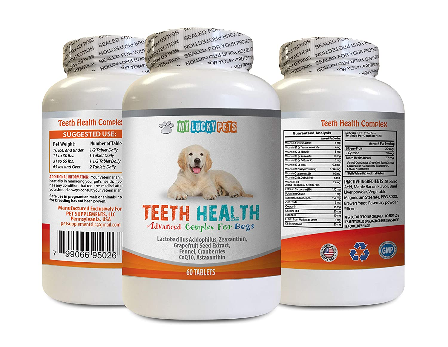 MY LUCKY PETS LLC Oral Care for Dogs Bad Breath - Advanced Teeth Health for Dogs - Fights Bad Breath - Best Looking Gums and Teeth - Dog Vitamin e - 60 Tablets (1 Bottle)