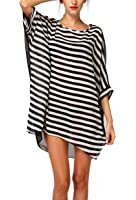 MG Collection Black & White Striped Sheer Beach Swimsuit Coverup Pullover Tunic