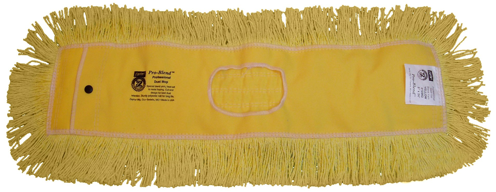 Zephyr 12366 Pro-Blend Yellow Dust Mop Head, 60'' Length x 5'' Width (Pack of 6)