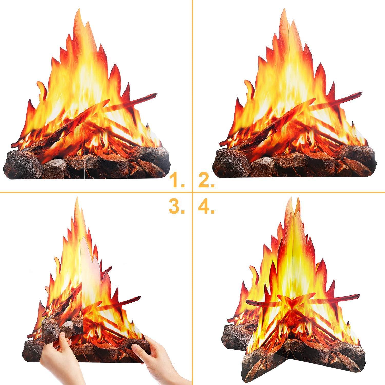 2 Set Stile A 12 Pollici Alto Fuoco Artificiale Falso Fiamma Carta 3D Decorativo Cartone Fuoco allAperto Centrotavola Fiamma Torcia per Decorazioni di Festa del Fuoco allAperto