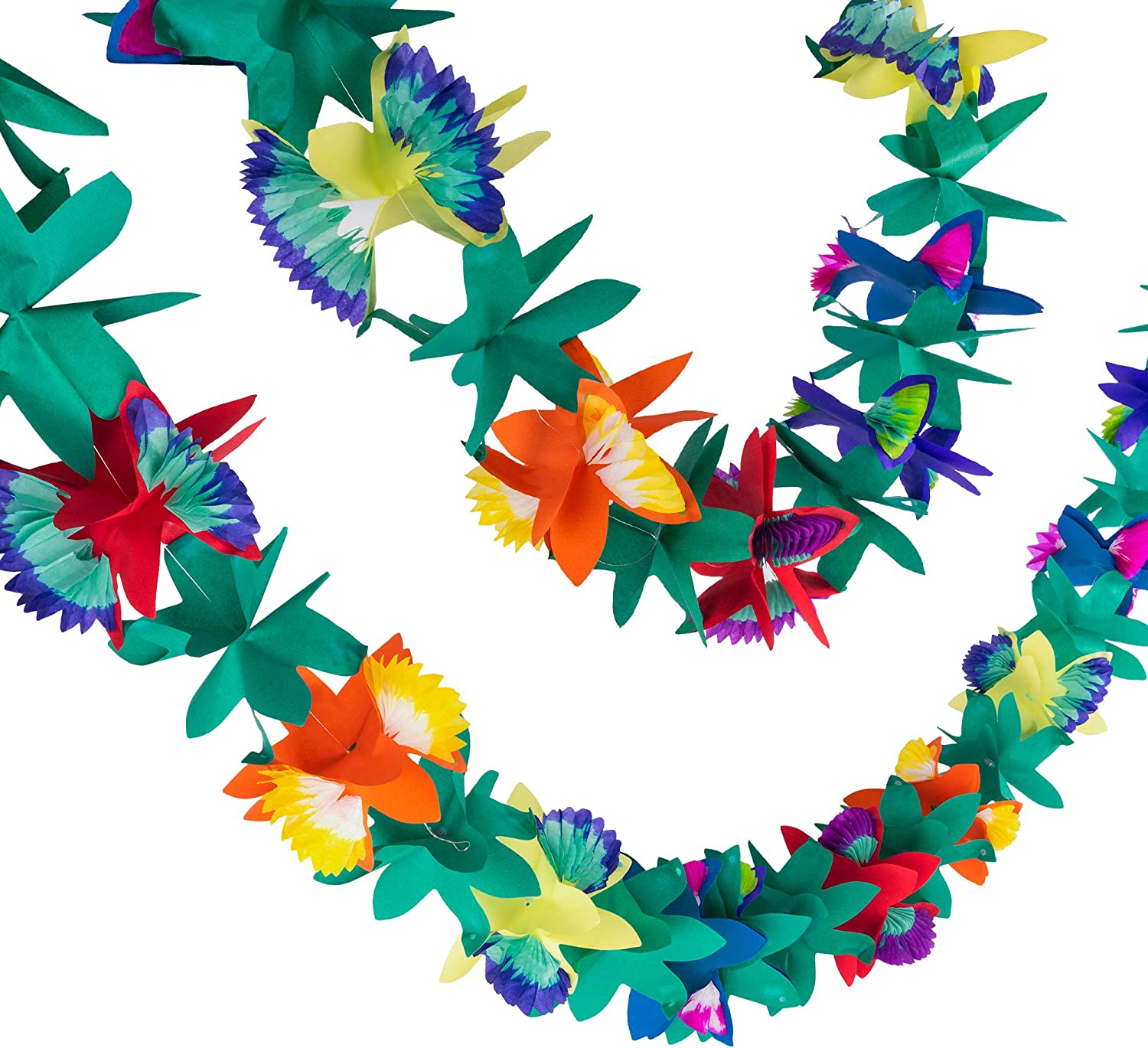 Super Z Outlet 9 Foot Paper Garland Tropical Hibiscus Decorations, Multicolored Tissue Flower Leaves Banner for Luau Party, Birthday, Hawaiian Theme