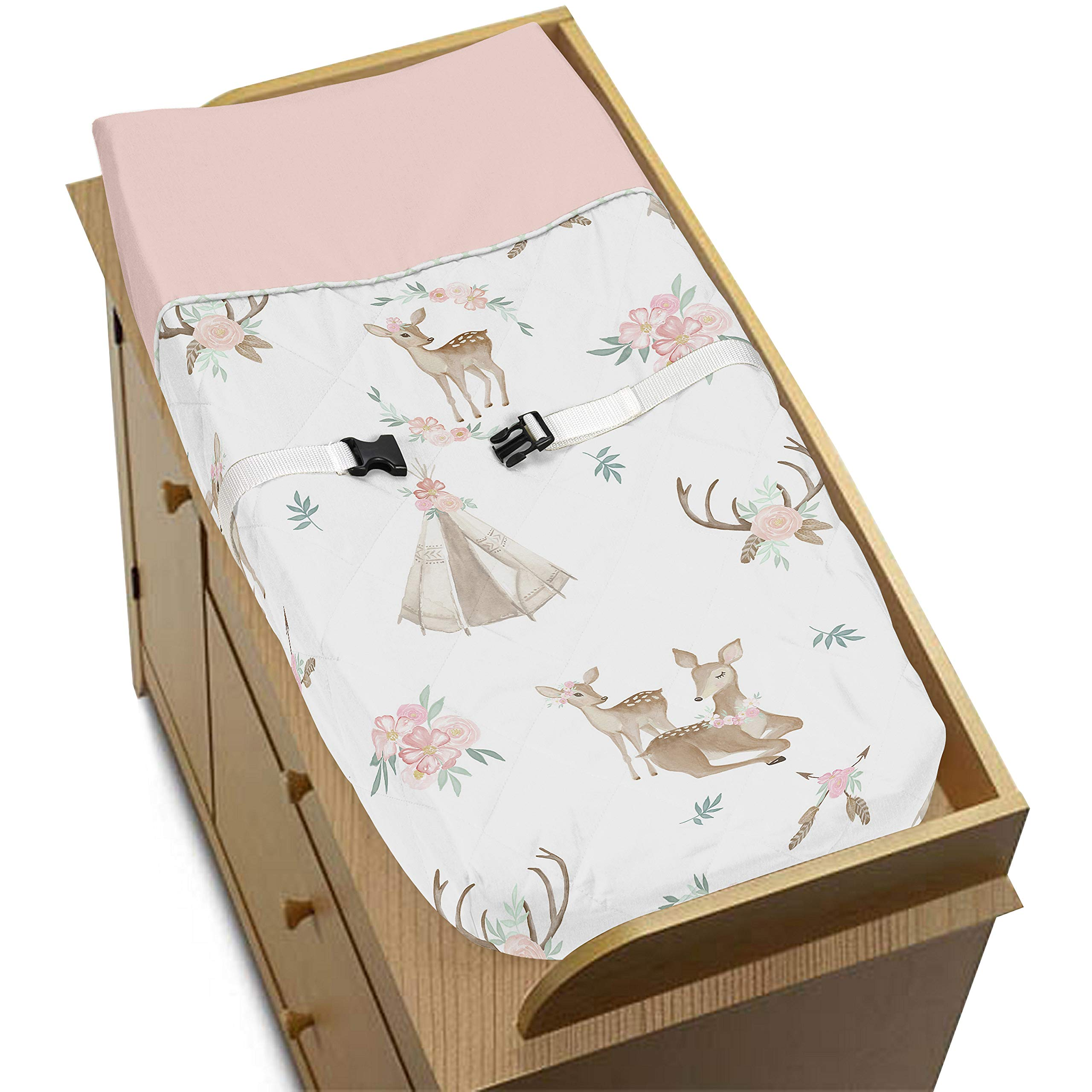 Sweet Jojo Designs Blush Pink, Mint Green and White Boho Changing Pad Cover for Woodland Deer Floral Collection by Sweet Jojo Designs