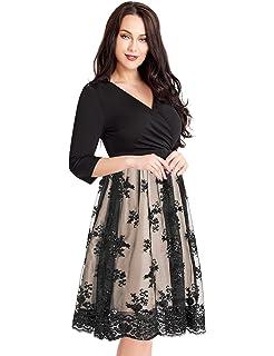 Amazon.com: Nemidor Women\'s Illusion Floral Lace 3/4 Sleeves ...