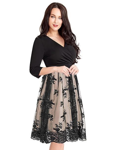 GRAPENT Women\'s Plus Size 3/4 Sleeve Surplice Sequin Mesh A Line Skater  Dress