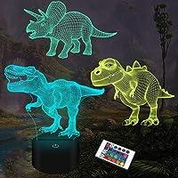 3D-nachtlamp voor kinderen, dinosaurus, 3 verschillende, met afstandsbediening en 16 verschillende kleuren, dimbaar…