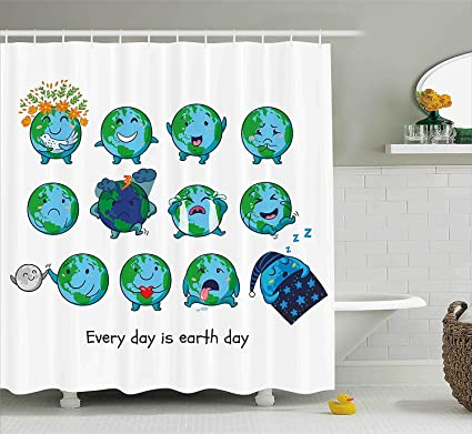Mirryderr Emoji Shower Curtain Planet Earth As Smiley Angry Happy Sad Cheerful Faces Expressions And