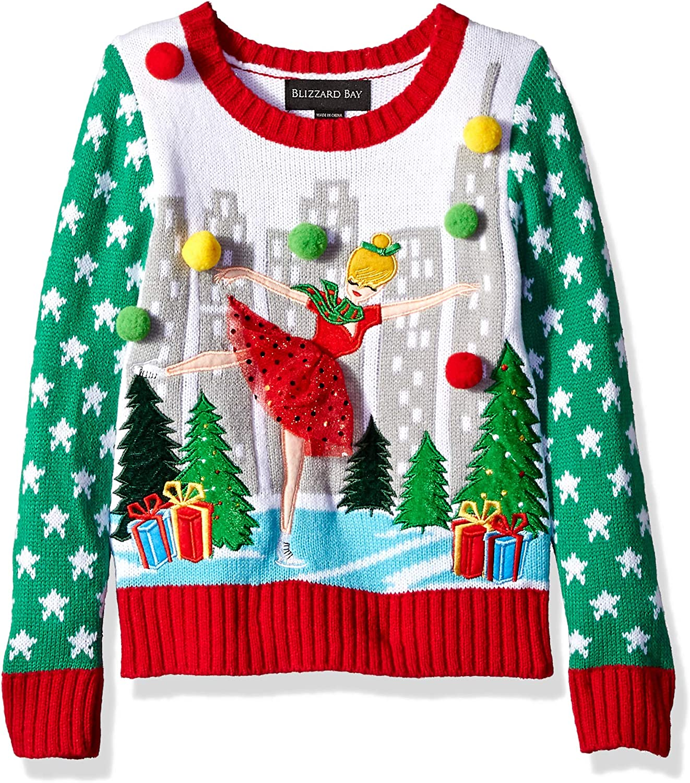 Blizzard Bay Girls L//S Crew Neck Christmas Ballerina Sweater