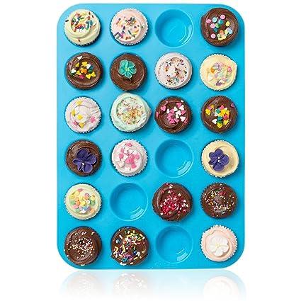Wady grande Mini magdalenas sartenes – 24 taza Jumbo cacerola de silicona para cupcakes y bandeja