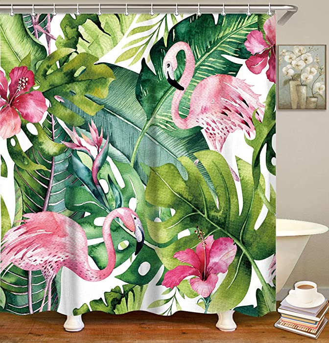 LIVILAN Tropical Leaf Shower Curtain, Flamingo Fabric Bathroom Curtains Set with Hooks Green Banana Palm Leaves Bathroom Decor 72x72 Inches Machine Washable Opaque Modern