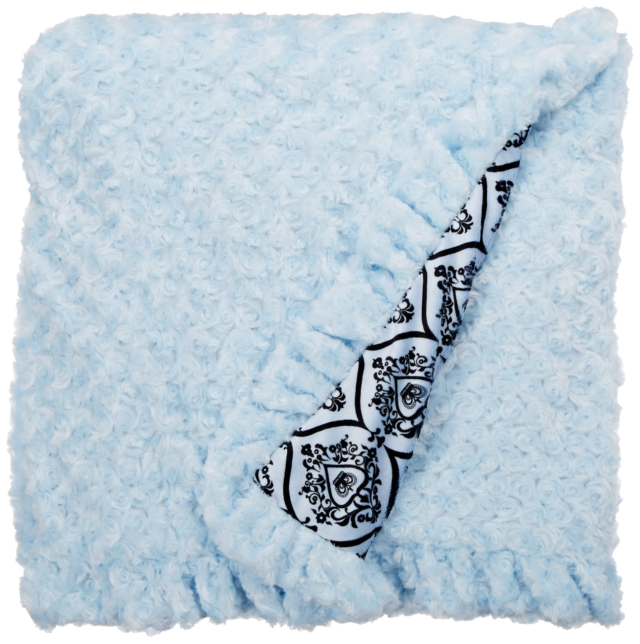 BESSIE AND BARNIE Pet Blanket, X-Large, Versailles Blue/Blue Sky with Ruffle