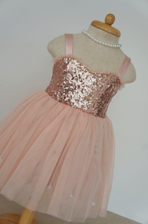 Blush flower girl dress Rose gold flower girl dress Gold sequin flower girl dress Christmas girl gift