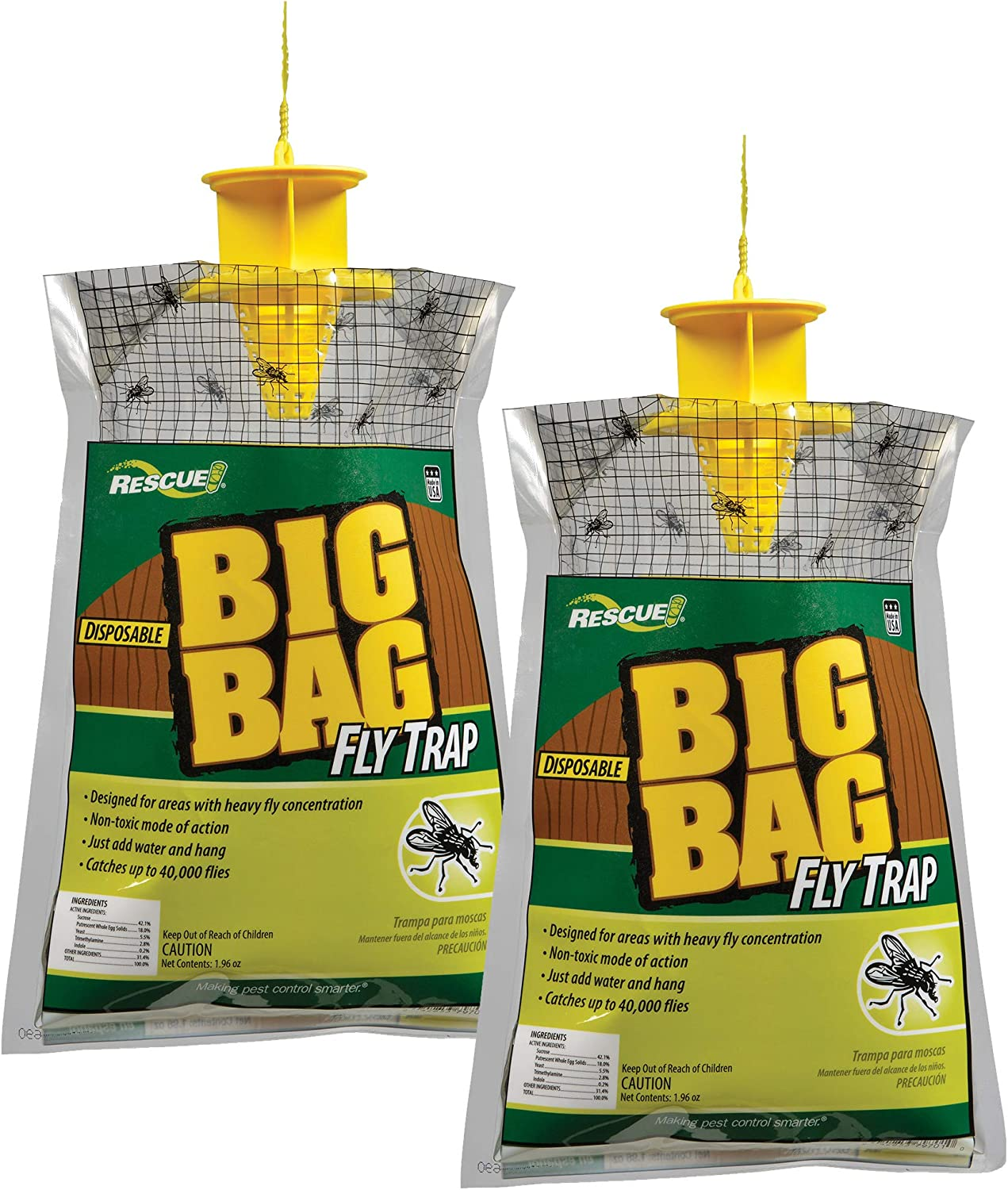 RESCUE Outdoor Non-Toxic Disposable Big Bag Fly Trap, 2 Pack
