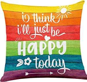 yuzi-n I Think I'll Just Be Happy Today Inspirational Quote Pillow Covers, Inspirational Home Decor, Motivational Office Sofa Couch Decor 18 x 18 Inch