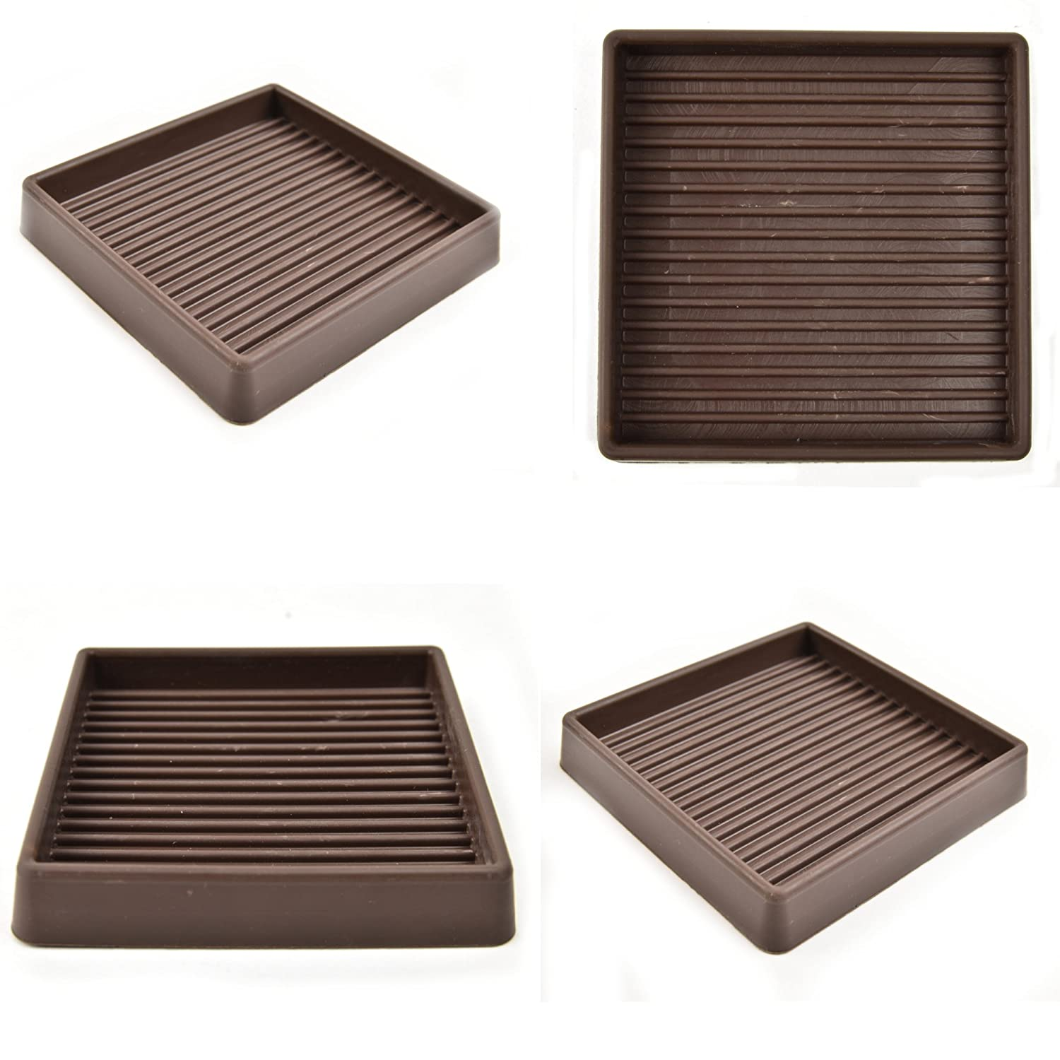 "Set of 4 -Caster Cups Rubber 3"" x 3"" - Brown"