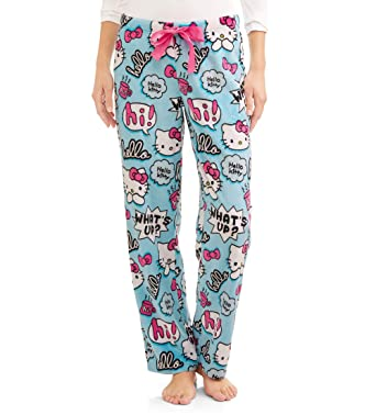 3c93fba3d SANRIO Womens Hello Kitty Blue Plush Minky Sleep Lounge Pajama Pants (2X  (18W-