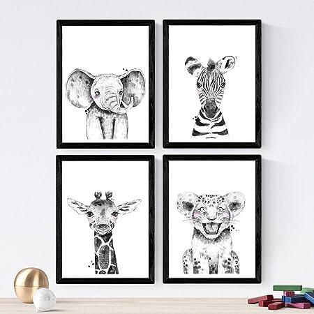 Nacnic Set De 4 Láminas De Animales Infantiles Blanco Y Negro En Tamaño A4 Poster Papel 250 Gr Marco Amazon Es Amazon Es