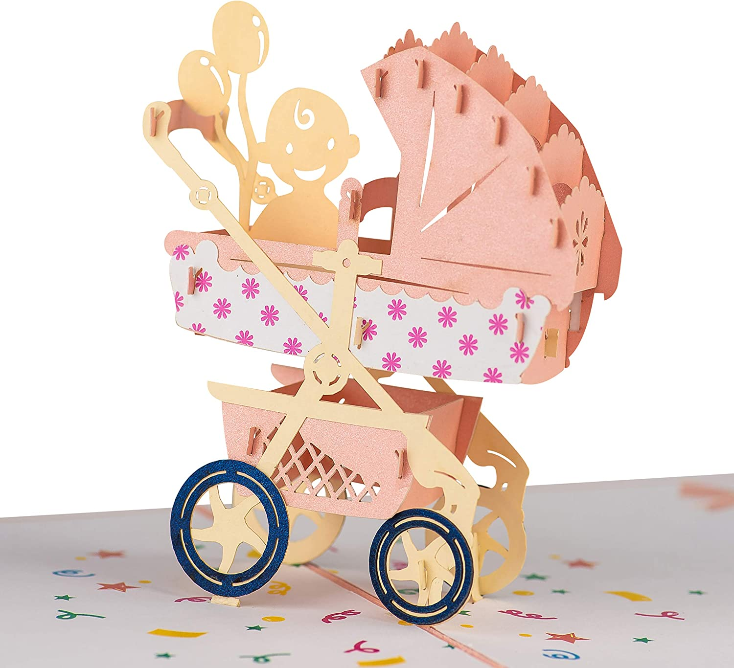 Baby Shower Pop Up Card for Boy Girl by DEVINE Popup Cards | New Baby Stroller Congratulations Card | Welcome Home Baby Shower Card | 3D Gift Card Thank You Love | Congratulations Baby Card