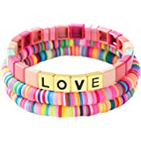 Amazon.com: HZEYN Enamel Tile Bracelet Stackable Rainbow Tile Bead ...