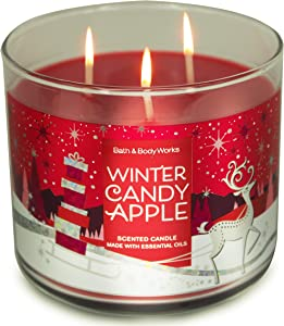 White Barn Bath and Body Works, 3-Wick Candle w/Essential Oils - 14.5 oz - 2020 Holidays Scents! (Winter Candy Apple)