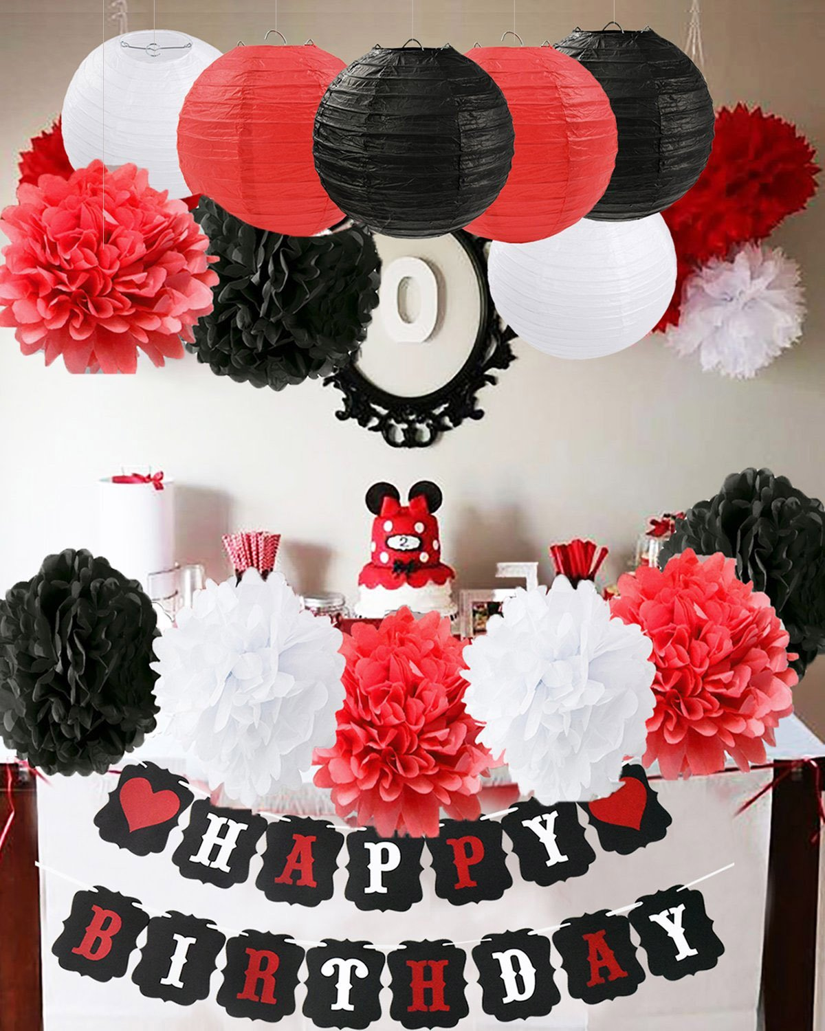 Furuix Mickey Mouse Birthday Party Decorations White Red Black Birthday Party Decorations Minnie Mouse Party Supplies Tissue Paper Pom Pom Flowers Paper Lanterns for Happy Birthday Decorations Baners