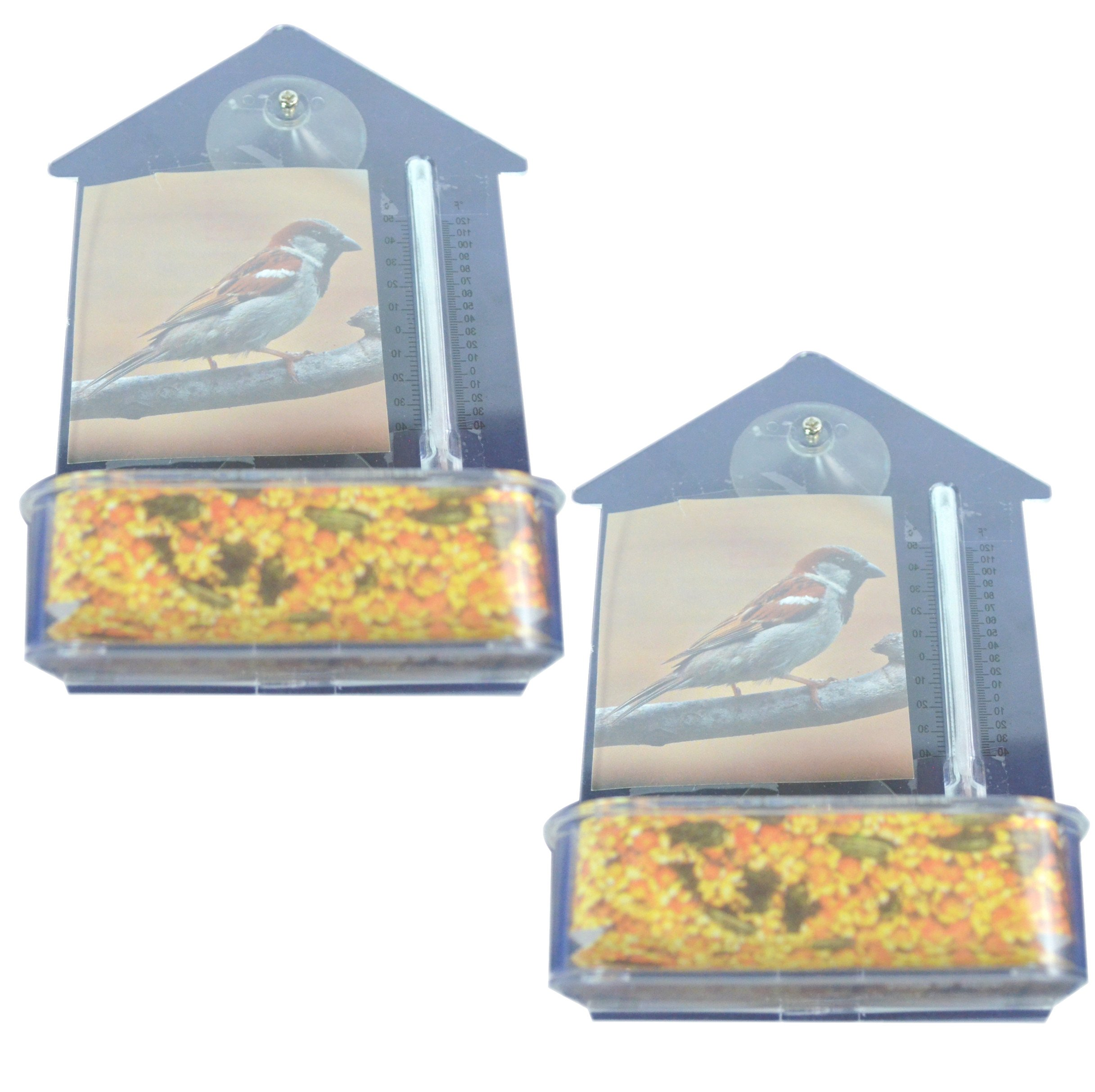 Bird Watcher's 2-Pack Window Suction Bird Feeder with Thermometer. These 7''x5'' clear house shaped Feeding Dishes are ideal for Bird Watchers of all ages. Great views from your Window Seal.