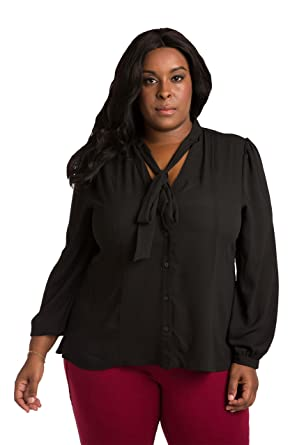 056753b1802 Poetic Justice Plus Size Curvy Women s Black Chiffon Button Up Neck Tie Blouse  Size 1X