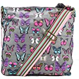 Miss Lulu Designer Butterfly Floral Grey Canvas Cross Body Saddle Bag