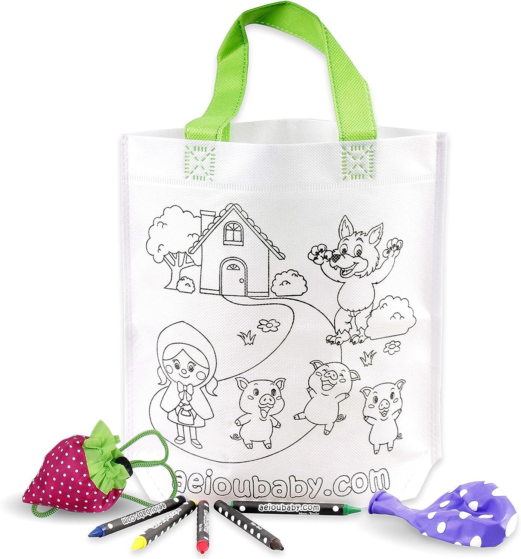 aeioubaby.com 25 Bolsas para Colorear + 1 Bolsa Reutilizable | 25 Bolsas Individuales con 5 Ceras de Colores y Globo | Regalo niños Fiestas y cumpleaños