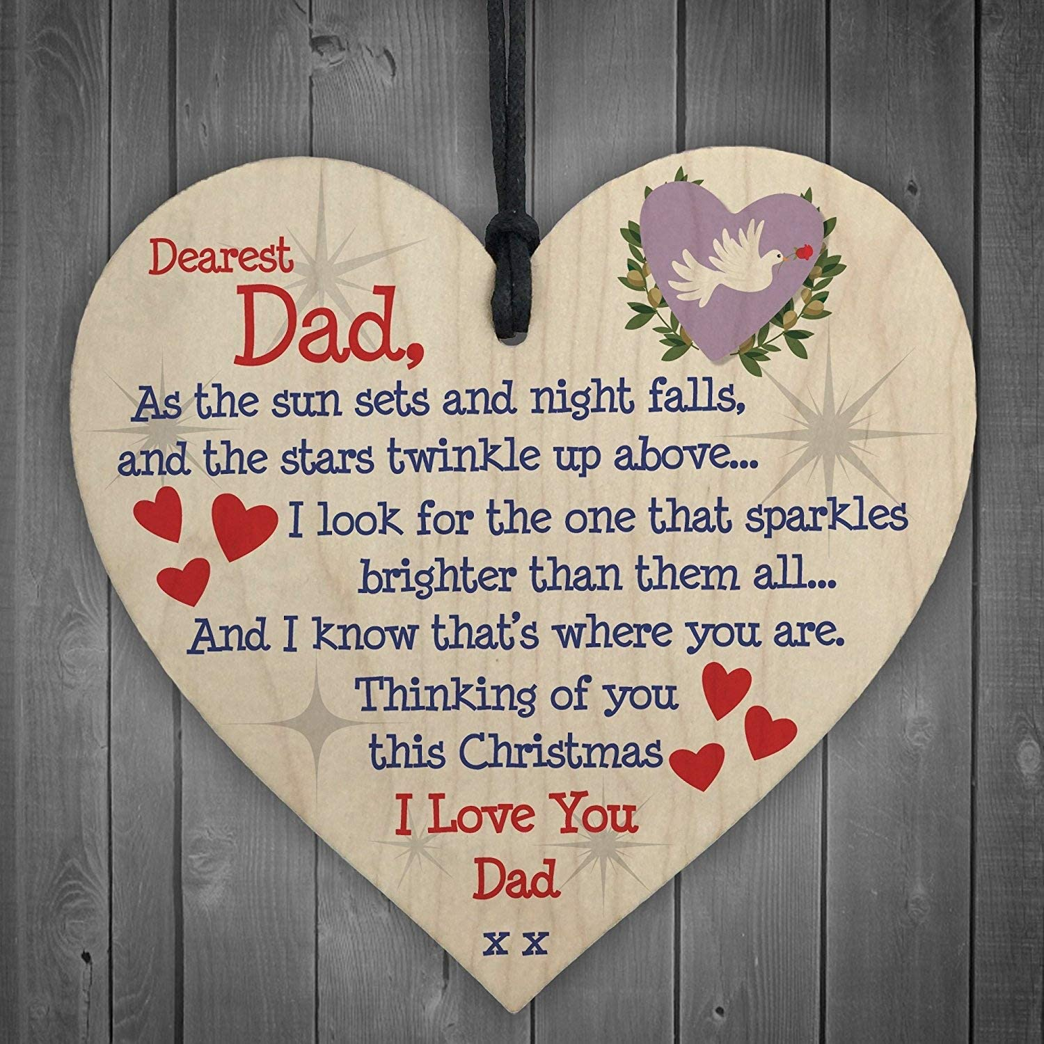 DAD Memorial Christmas Tree Bauble Handmade Wood Hanging Heart Decoration Sign