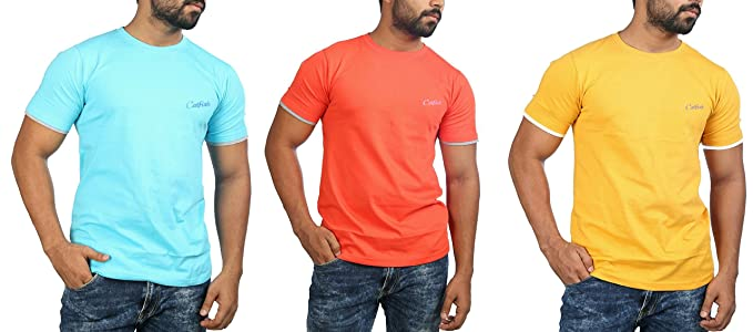 1e539a7ff0f Image Unavailable. Image not available for. Colour  Catfish Mens Premium  Cotton Half Sleeves Round Neck T-Shirts Combo(Pack of 3