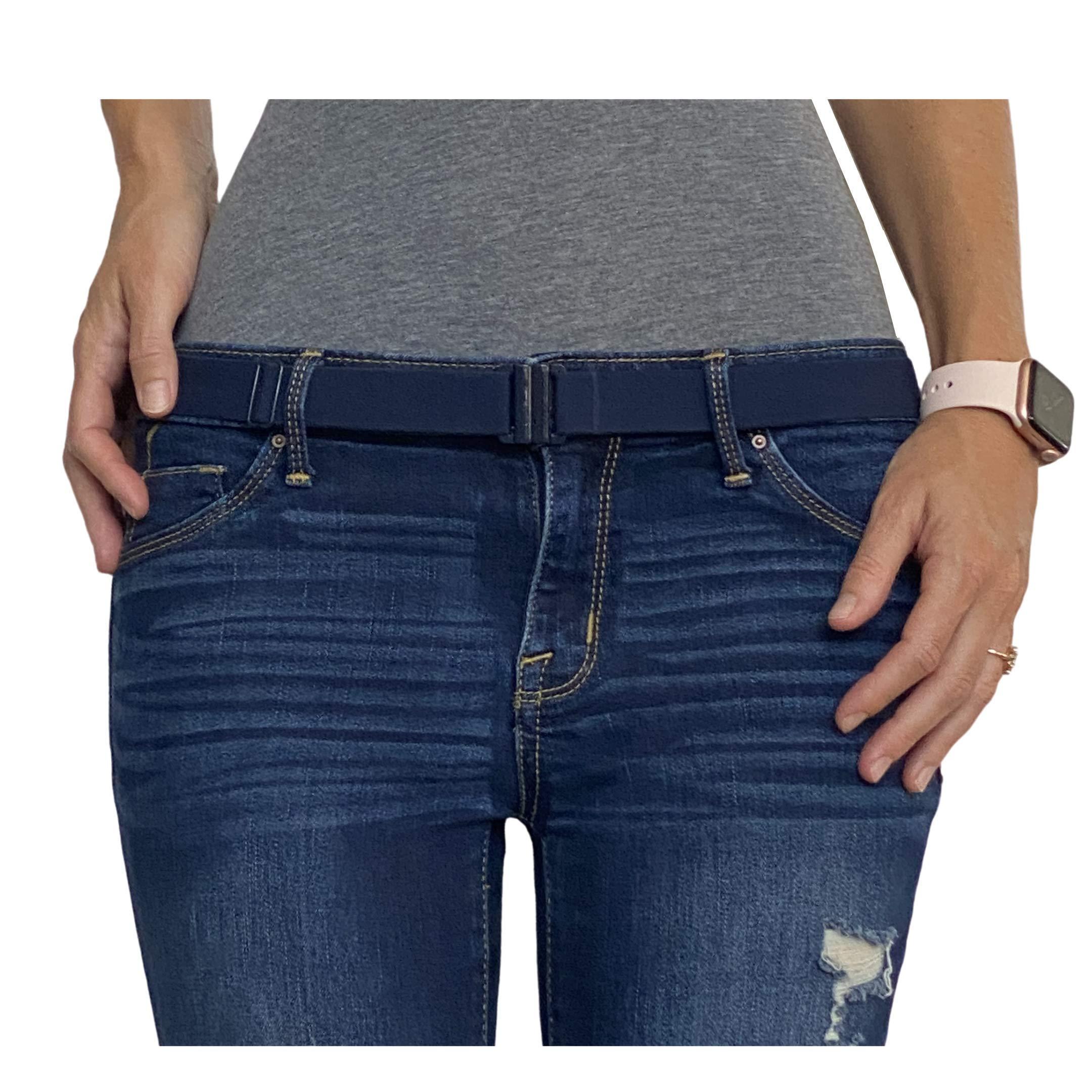 No Show Flat Buckle Ladies Belts Non- Slip Backing Black Belts for Women Adjustable Stretch Elastic Belt Women