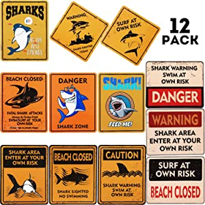 12 PCS Shark Zone Party Decorations,12 Styles Party Wall Decor Signs for Boys Kids Birthday Party Ocean Shark Theme Party Supplies