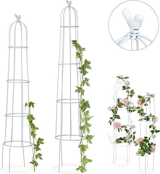 Relaxdays Tuteur de Jardin Oiseau Colonne Rosier Arche Plante grimpante Set 2 m/étal H 117,5 cm et 97,5 cm Arceau Blanc 117 cm et 97 cm
