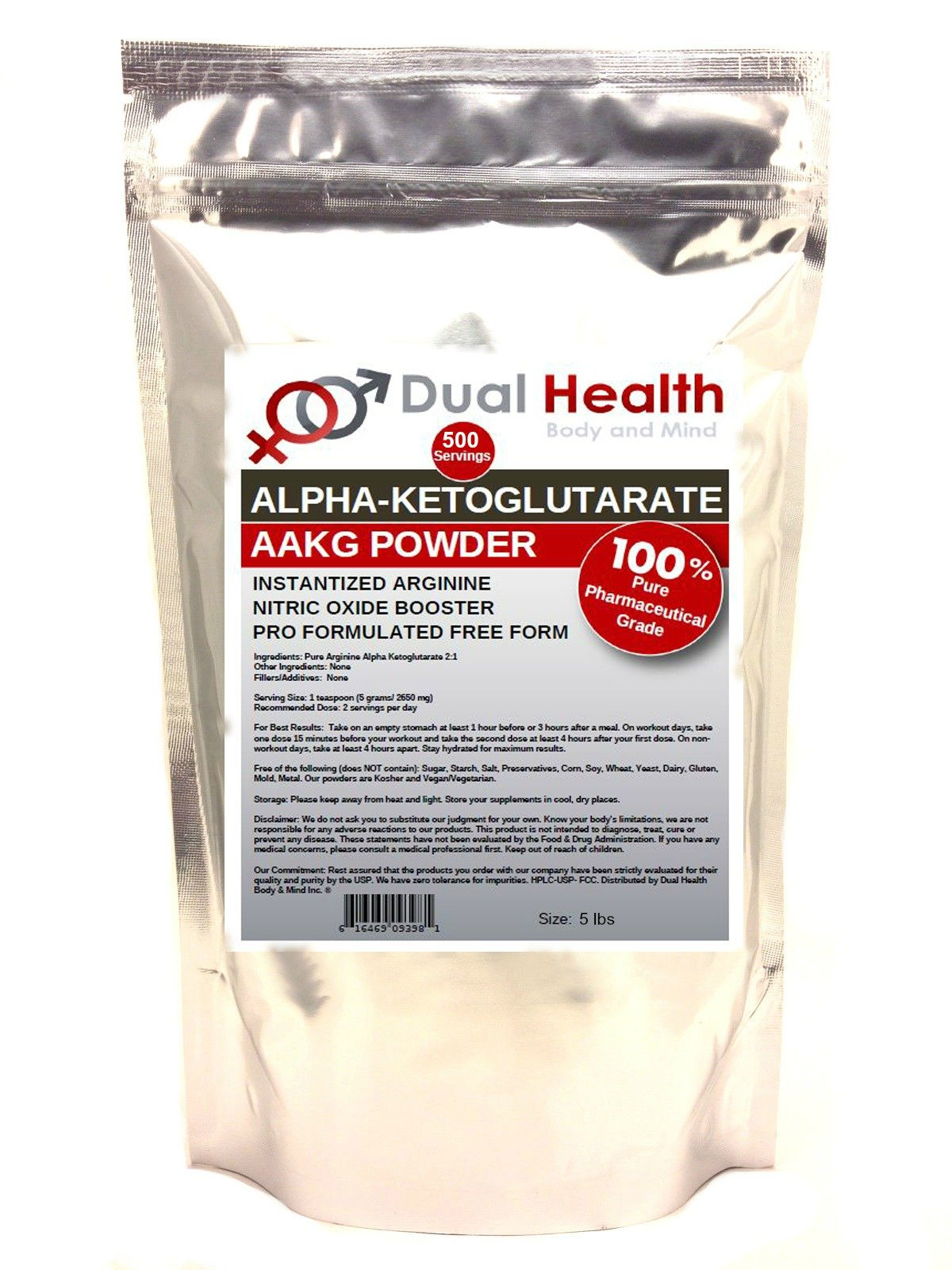 Pure AAKG (5 lbs) L-Arginine Alpha-Ketoglutarate Powder Bulk Supplements