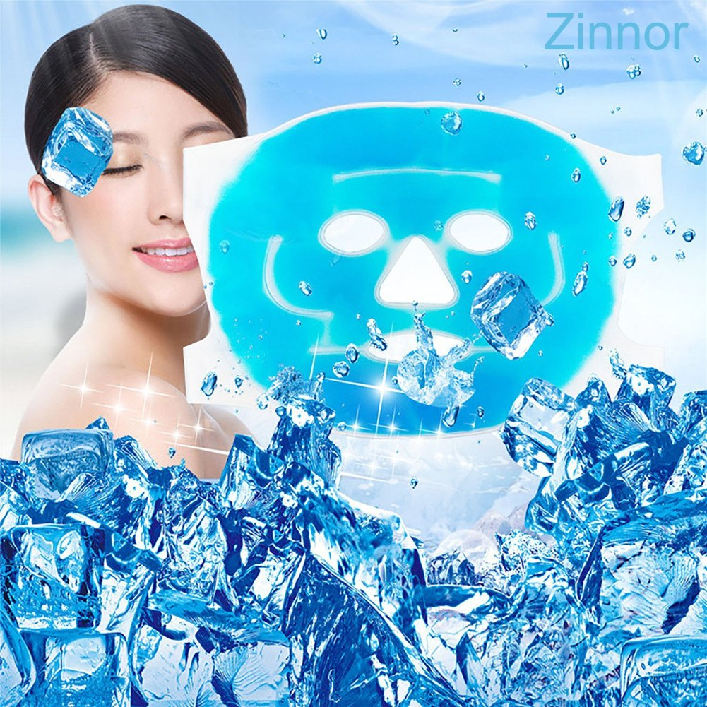 Zinnor Hot/Cold Ice Mask–Reusable Face Gel Bead Facial Eye Mask,Use for Migraine Headache,Puffy Eyes,Swollen Face,Stress Relief,Dark Circles,Fabric Back Beauty Mask,Shrink Pores,Sleep Cool (Face Mask)