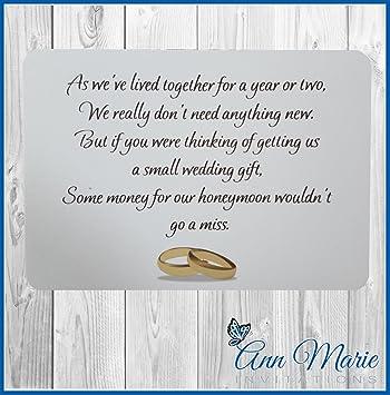 50 Personalised Money Wedding Poems Honeymoon Wish Poem Card Gift