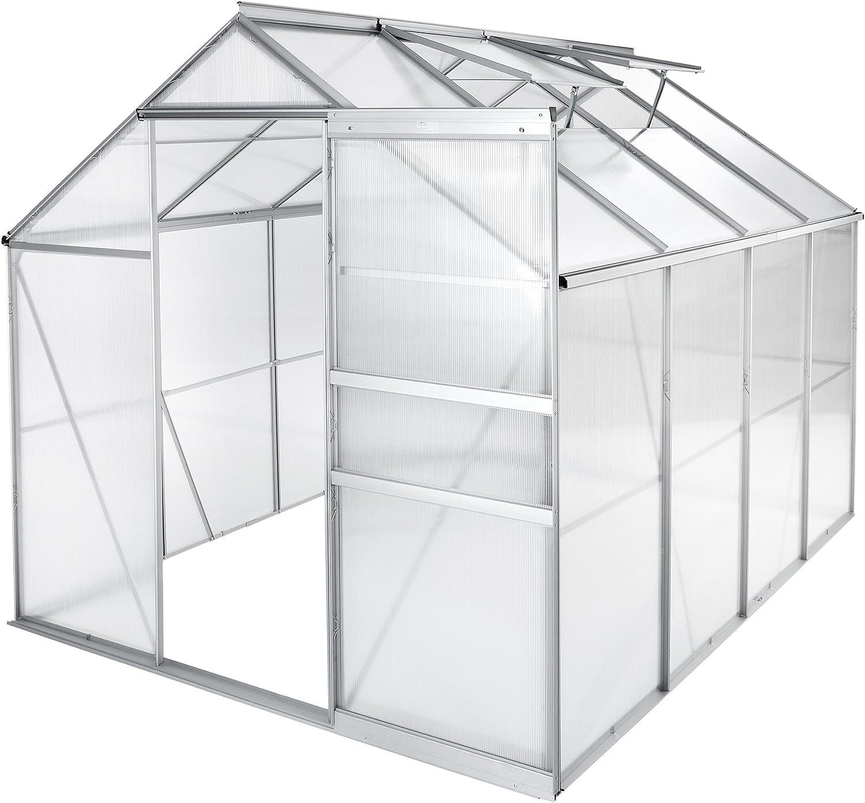 TecTake Invernadero de jardín policarbonato Transparente Aluminio casero Plantas Cultivos - Varios Modelos - (250x185x195 cm | no. 402476)